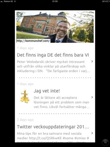 Så här ser kommunchef.com ut i appen